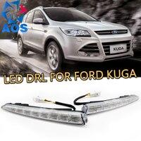 Schakelen en dimmen stijl relais LED Auto DRL Dagrijverlichting verlichting voor Ford Kuga 2012 2013 2014 2015 met mistlamp