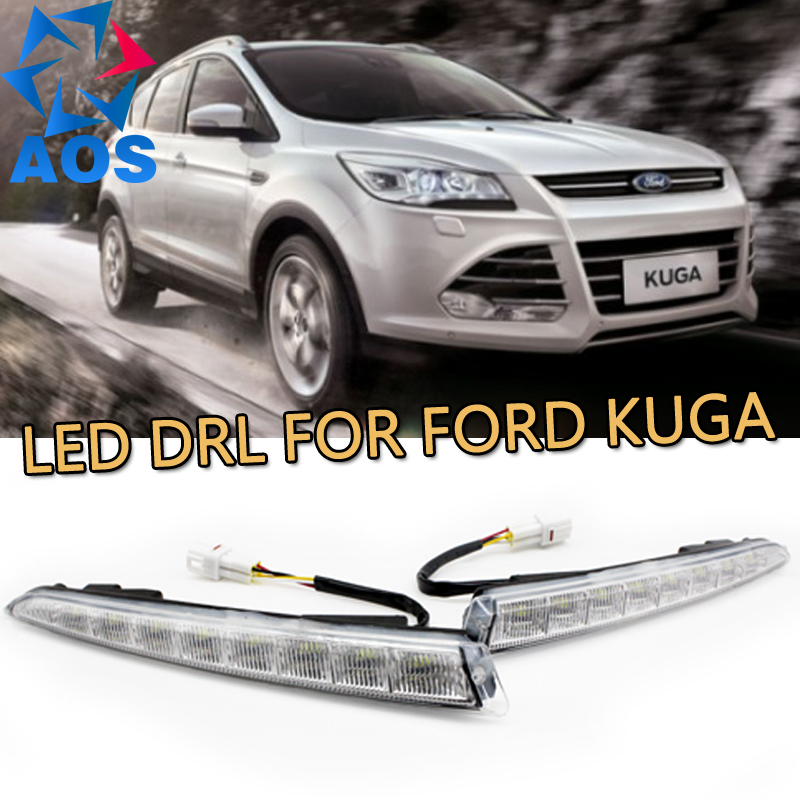 Turn off and dimming style relay LED Car DRL Daytime Running Lights for Ford Kuga 2012 2013 2014 2015 with fog lamp led car daytime running light drl bumper with turn off and dimming relay front fog lamp for ford focus 3 2012 2013 2014 12v