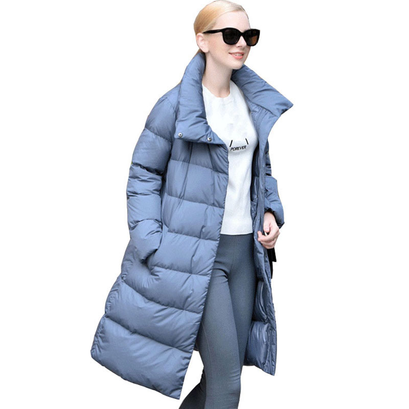 plus size women white duck down jacket 2017 autumn winter new female slim warm parka down coat zippen thin down outerwear QH0979 2017 new winter jacket women coat plus size female slim parka collar outerwear basic down top casual long jackets