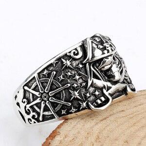 Image 2 - 925 anneau de crâne pour hommes en argent Sterling squelette crâne anneau Pirate ancre Biker Punk Style gothique pour les amoureux bijoux de fête