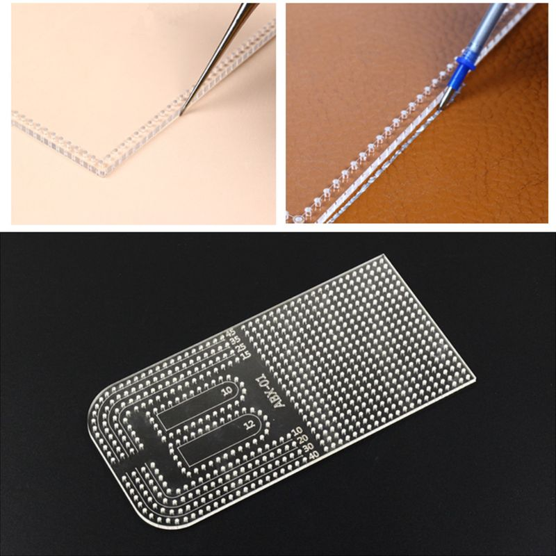 Leather Craft Acrylic Patchwork Punching Positioning Drilling Ruler Calculation Template Stencil DIY Sewing Tool