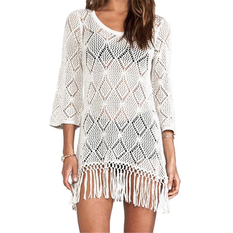 new arrivals beach cover up white crochet swimwear ladies robe de plage pareo beach women