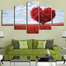 Canvas Painting Living Room Wall Art 5 Piece Red Romantic Tableau Love Heart Tree Pictures Home Decor HD Prints Poster Framework(China)