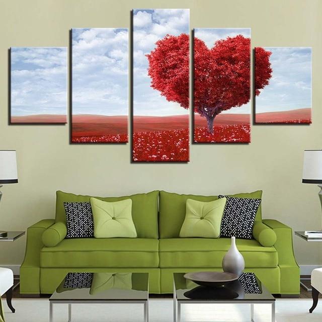 Toile Peinture Salon Mur Art 5 Pièce Rouge Romantique Tableau Amour Coeur  Arbre Photos Décor Maison