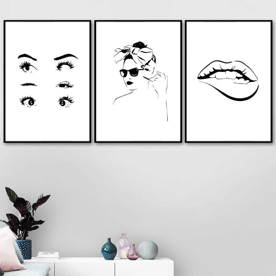 Girl Eye Lips Body Line Drawing Abstract Wall Art Canvas Painting Nordic Poster And Prints Wall Pictures For Living Room Decor Aliexpress