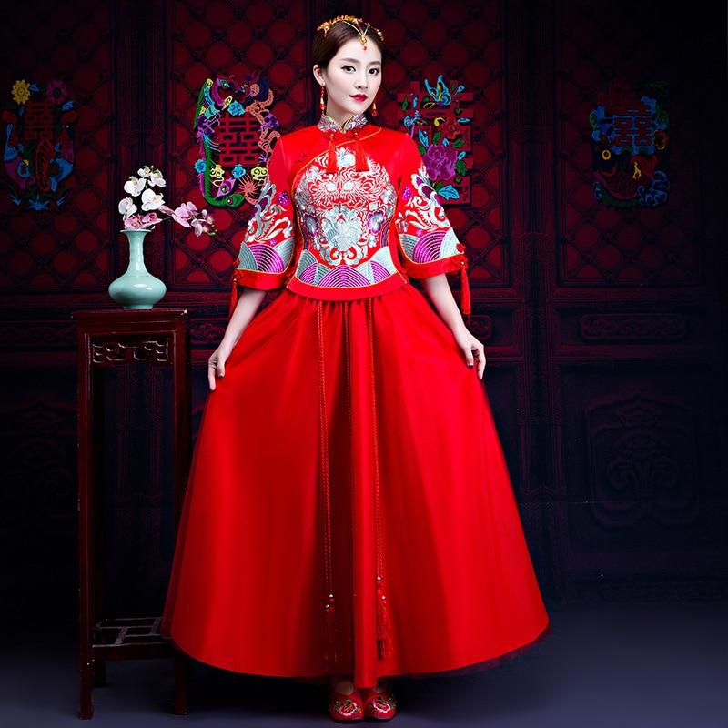 Ancien Bruiloft Jurk Bruid Toast Kleding Traditionele Borduurwerk Cheongsam Chinese Vintage Qipao Oversized Xxxl Vestidos Geschikt Voor Mannen, Vrouwen En Kinderen