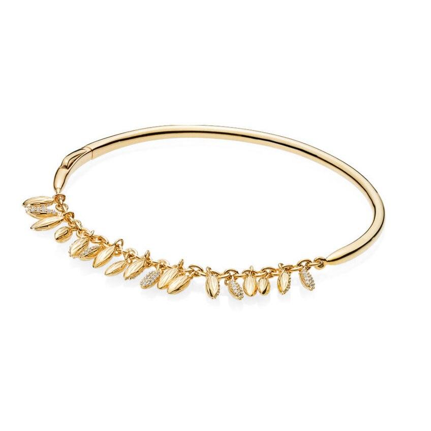 2018 nouveau Bracelet à Grains flottants en or brillant 925 en argent Sterling avec Bracelet en graines de zircon pour Bracelet panqiou bijoux à bricoler soi-même