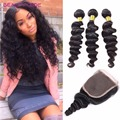 8A 3 Bundles Peruvian Loose Wave with Closure Peruvian Virgin Hair With 4x4 Closure Loose Wave Closure with Peruvian Human Hair