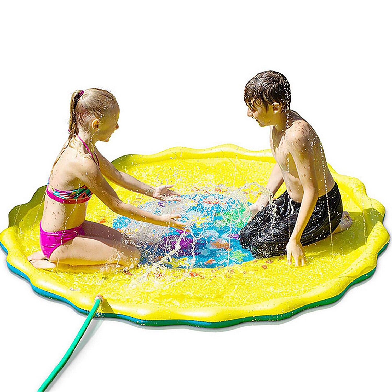 Kids 170cm Diameter Funny Cartoon Inflatable Summer Beach Water Spray Mat Outdoor Sprinkle Splash Water Play Mat Pad Toy