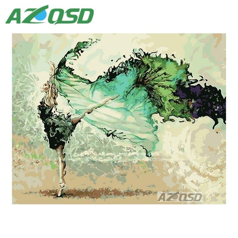 AZQSD Grün Kleid Dance Schönheit Malerei Durch Zahlen Auf Leinwand ...