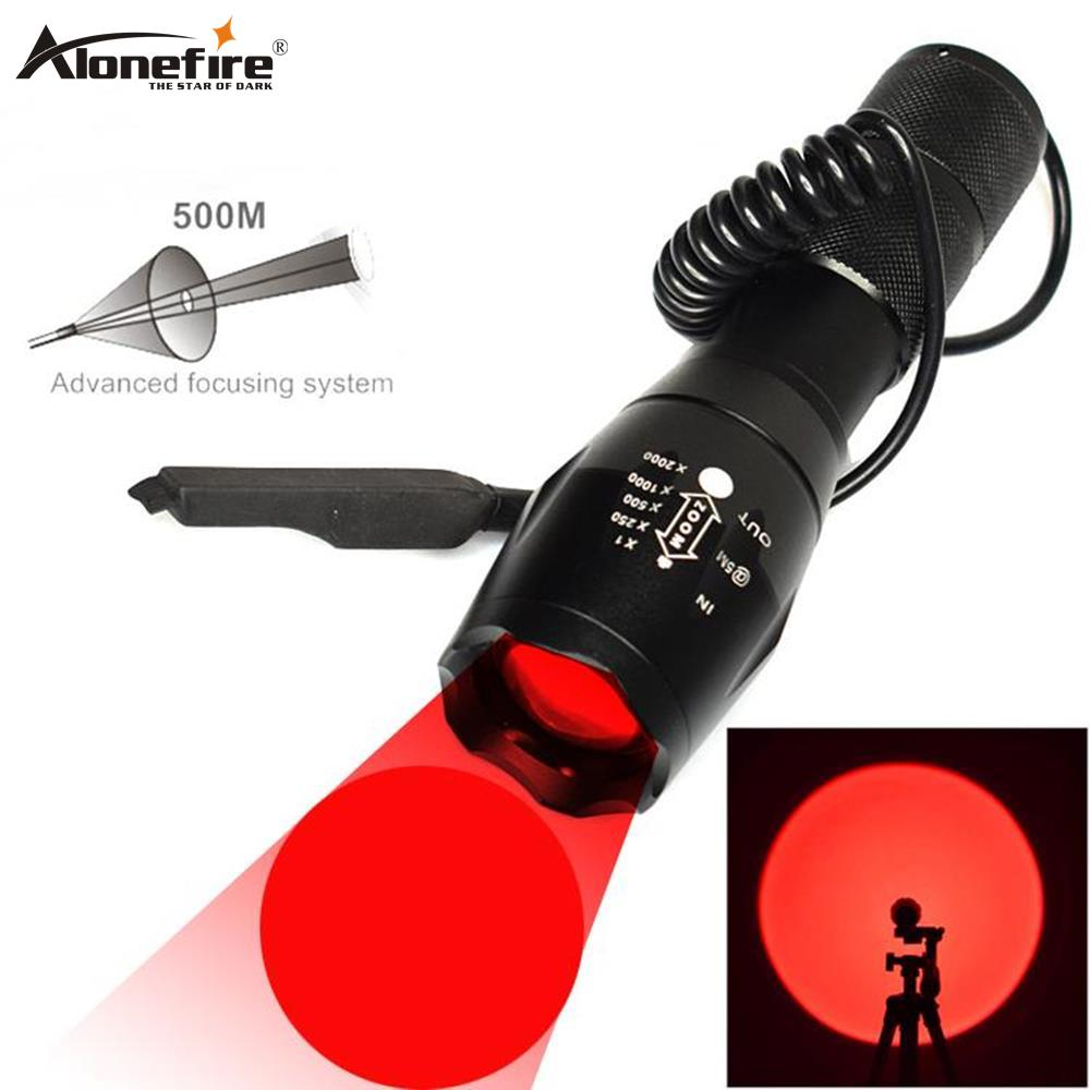 AloneFire E17 Zoomable Red Light Flashlight Tactical Torch Night Hunting Picatinny Gun Mount+remote Pressure Switch