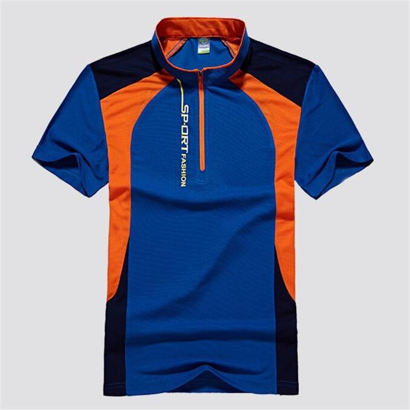 Handsome Youth Blue Green Patchwork Shirt Men Casual Sports Tshirts Elastic Slim Quick-drying Tops Mandarin Collar Zipper Tees