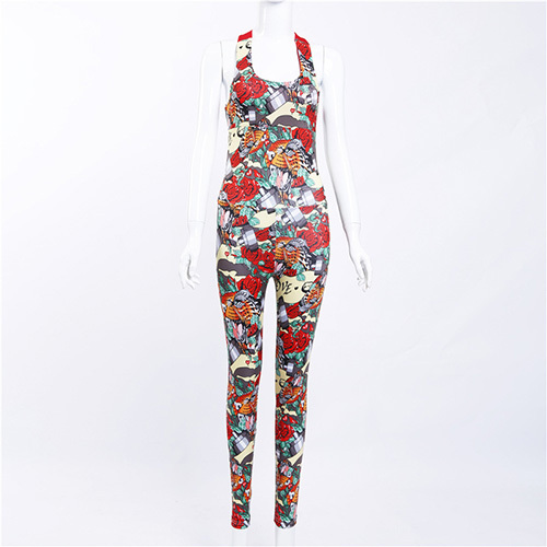 Yoga Bodysuit for Women with Colorful Floral Prints
