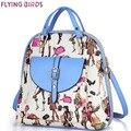 Flying birds! estudiante mochilas Mujeres Mochila casual mochila mujeres Viajan Bolso de Escuela bolsas de las señoras de La Taleguilla Bookbags LM3209fb