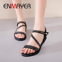 ENMAYER 2019 New Fashion  Genuine Leather Basic Casual Womens Sandals Hook & Loop Solid Women Shoes Size 34-40 LY2508