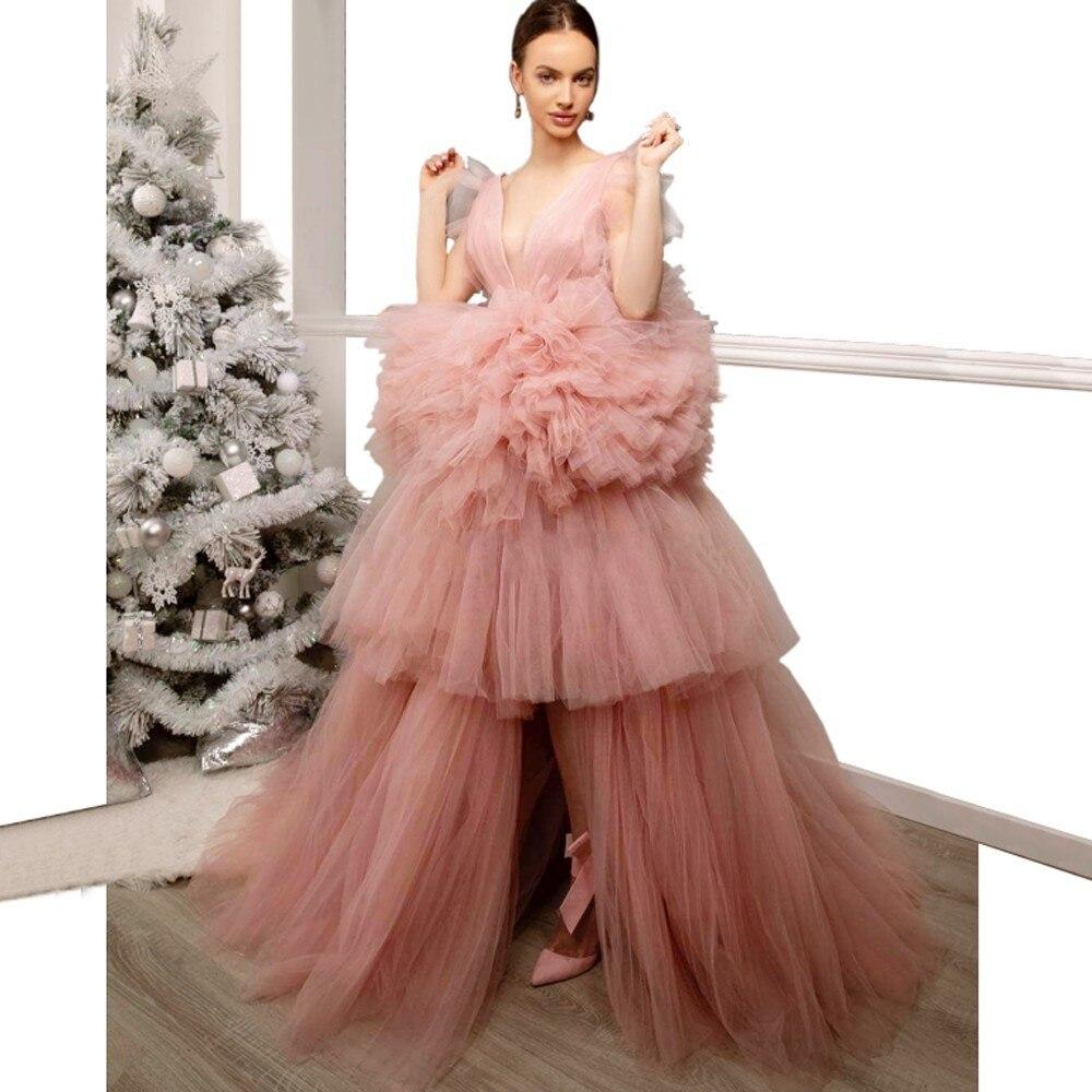 Pink   Evening     Dresses   Lush Vestido Longo V Neck Robe De Soiree   Evening   Gown Tiered Ruffles Gorgeous   Evening     Dress   Sweet
