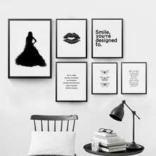 Nordic Minimalism Wall Pictures for Home Decoration, Black Lip Wall Canvas Art Print Poster, Smile Wall Art Decor HD2346