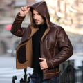 Luxury 2017 Men's Fashion Genuine Sheepskin Leather Coat 100% Natural Wool Lined with a hood Thick Warm Brown Plus Big Size XXXL