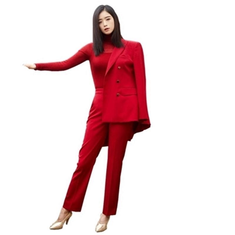 Responsible 2018 Spring And Autumn Fashion New Ol Double-breasted Jacket High Waist Casual Pants Two Piece Set Womens Clothing Pant Suits