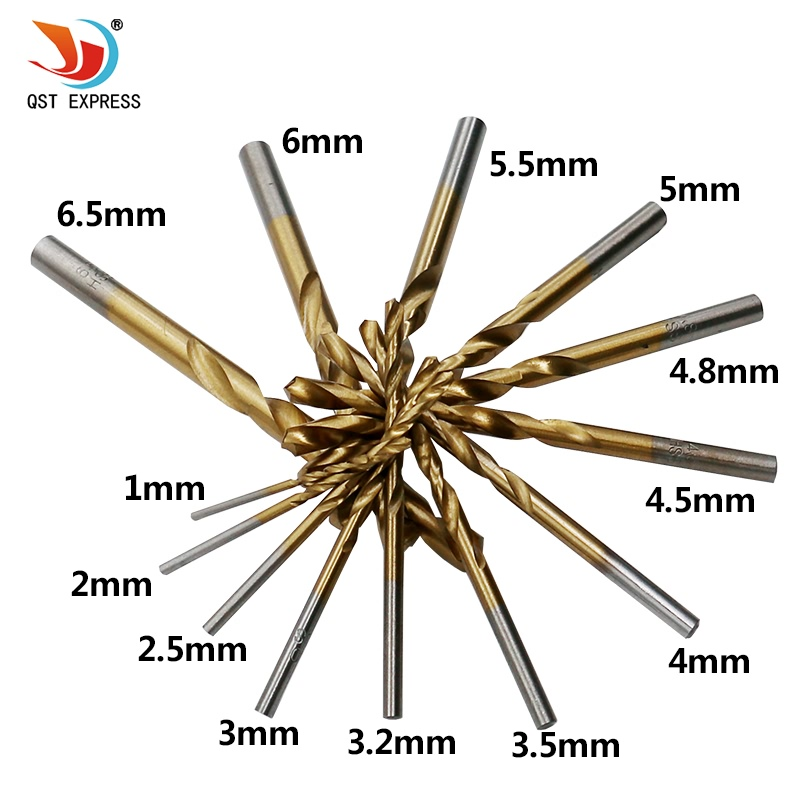 13pcs Set Twist Drill Bit Set Saw Set HSS High Steel Titanium Coated Drill Woodworkin Tool 1-6.5mm Woodworking drill 13 mm hss titanium coated drill bit wood metal plastic cutting saw set drill bit drill bit set drill bit
