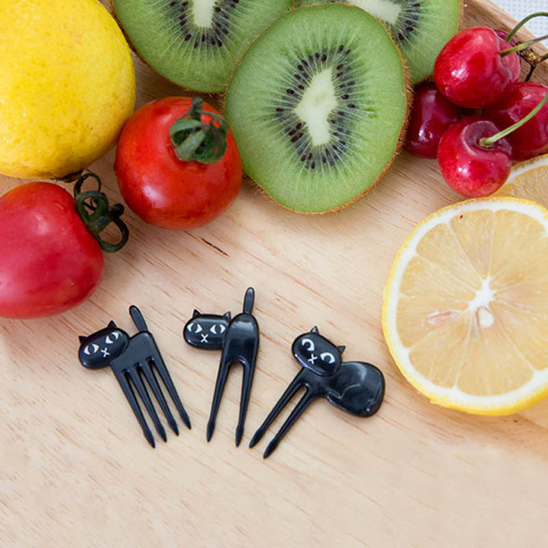 FHEAL New 6Pcs Mini Animal Fork Fruit Picks Cute Cartoon Black Cat Children Fork Toothpick Bento Lunch Box Decor Accessories  (4)