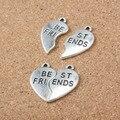 20 unids/lote 23mm Antique Silver Plating Corazón Quebrado Mejores Amigos Encantos Colgante de la Aleación Para DIY Joyería
