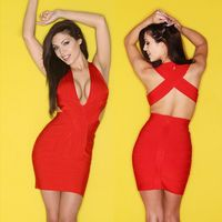 2016 New Sheath Red Sleeveless Sexy Clubwear Deep V Neck Dress Short Cocktail Party Bodycon Bandage Dresses Wholesale
