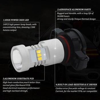 Pour Jeep boussole 2017 2018 2019 LED jour DRL feux de jour, blanc 6000 K Canbus PSX24W 5202 LED DRL ampoules 12 V 24 V 1500LM 1