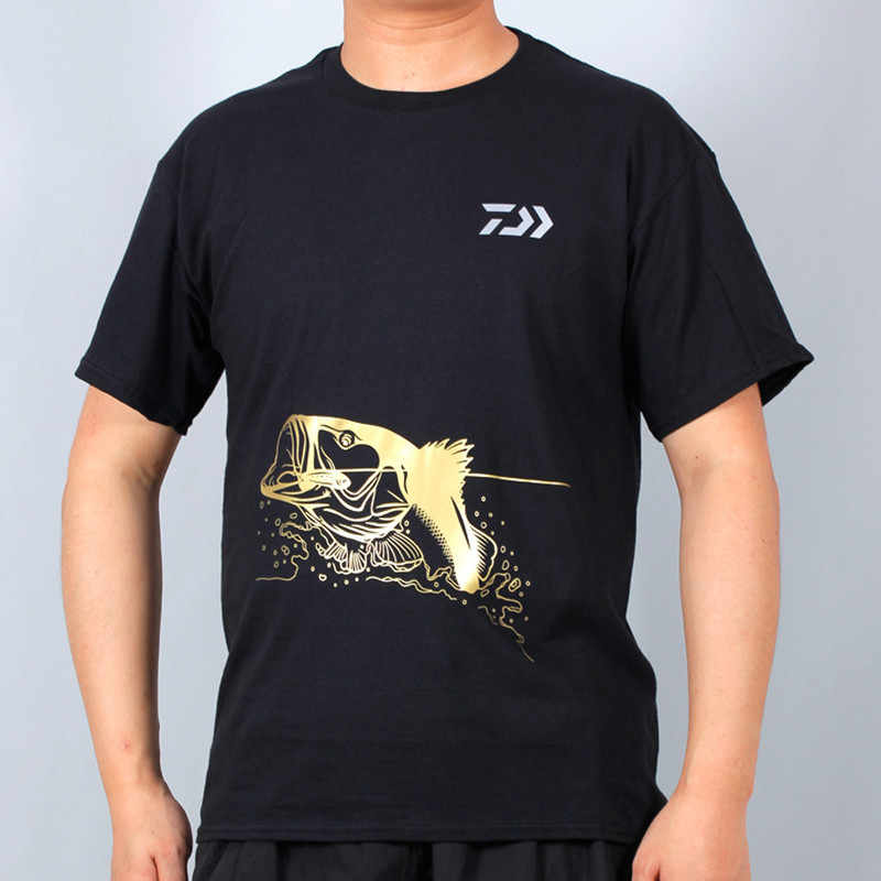 Daiwa Summer Men Fishing Clothing Sun Protection Large Size Cotton Outdoor Breathable Short Sleeve Fishing T-Shirt Quick Dry