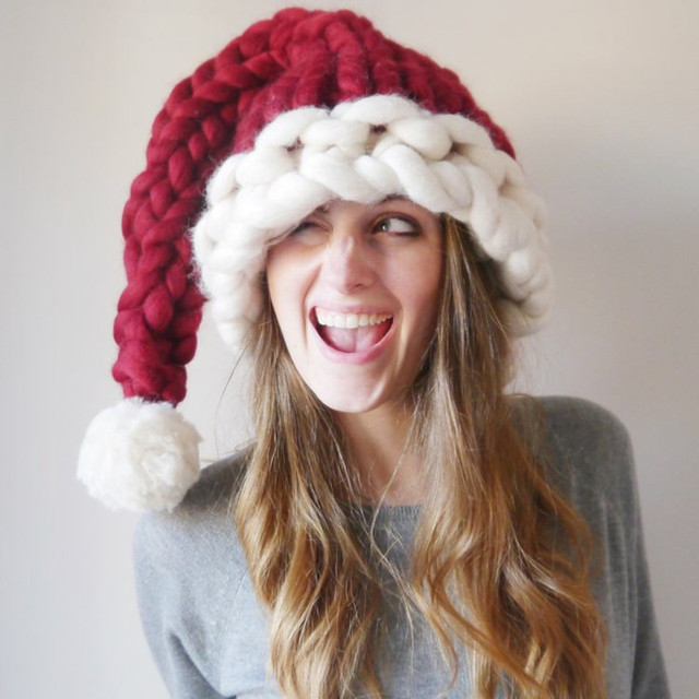 Hand Knitting Christmas Hat