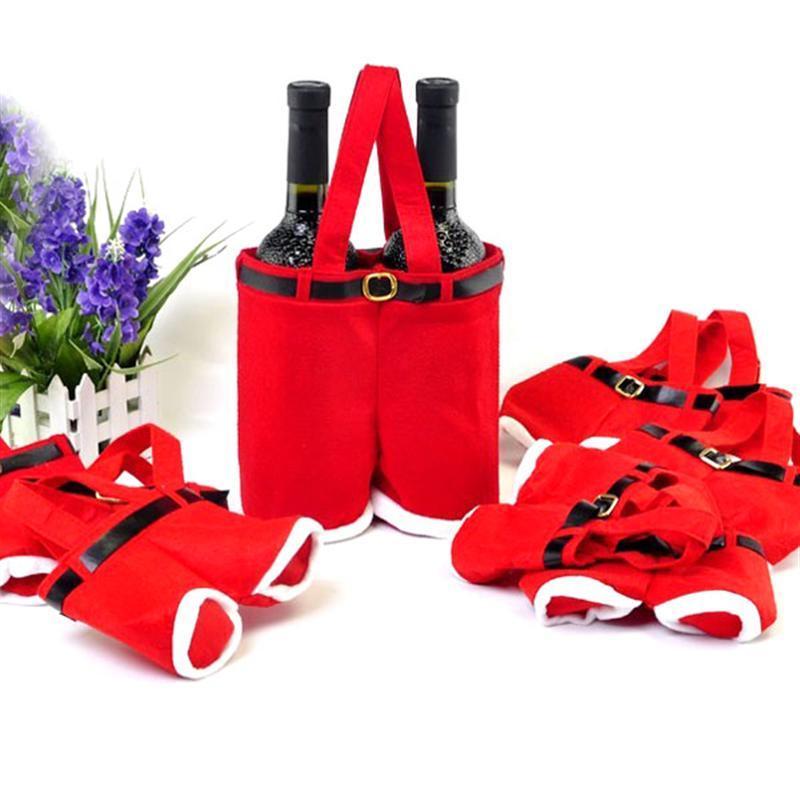 Novelty Suspender Pants Shaped Soft Lint Christmas /Wedding Candy Storage Bag Gift Bag - 10 pcs/set