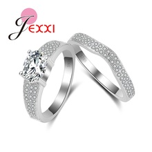 JEXXI Noble Princess Wedding Ring Set 925 Sterling Silver AAA Cubic Zircon Cz Diamond Bjioux Rings Wedding Accessories Jewelry