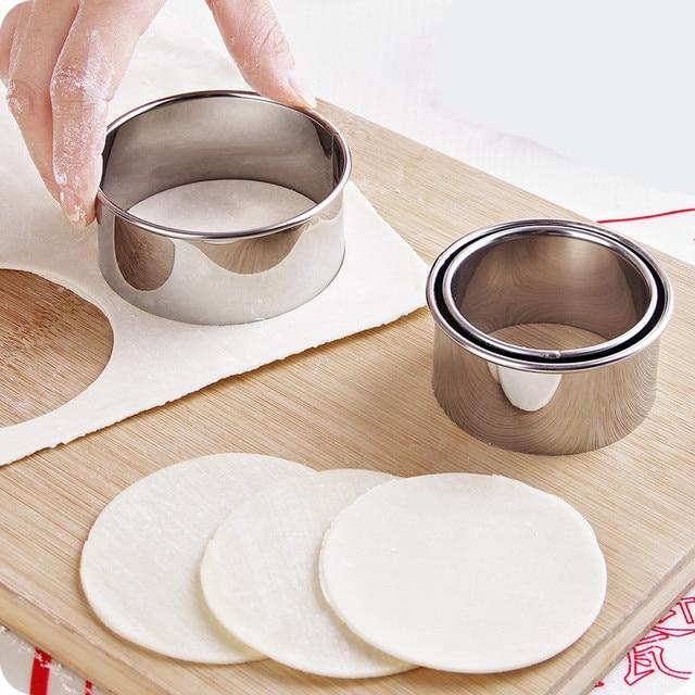 3pcs! Stainless steel DIY Dumpling Maker Mold round flower dumpling leather Fondant cutter mold Vegetable fruit Pastry Tools