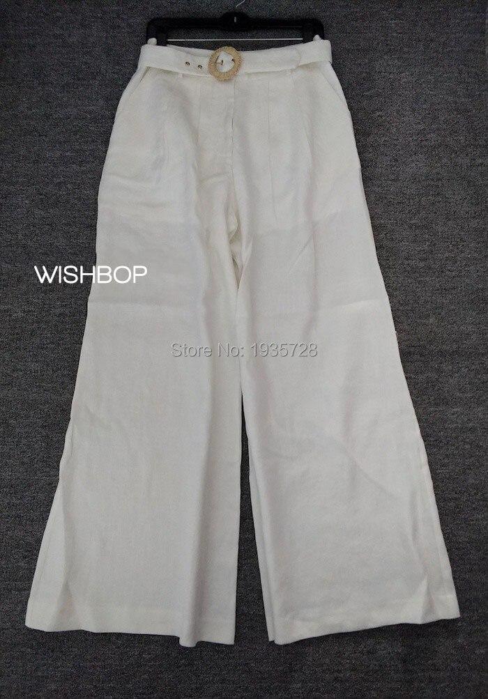 Poches Blanc Pantalon Piste Avec Lin Haute Latérales Ceinture Taille Boucle Femme Soie 2018ss Jambe Large Armure Tw6xdn1T0q