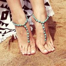 Beach Anklet Bohemia Turquoises Beads Anklets for Women Retro Simple Beach Temperament Anklet Women Fashion Gift retro style turquoise beads cut out carved alloy anklet for women