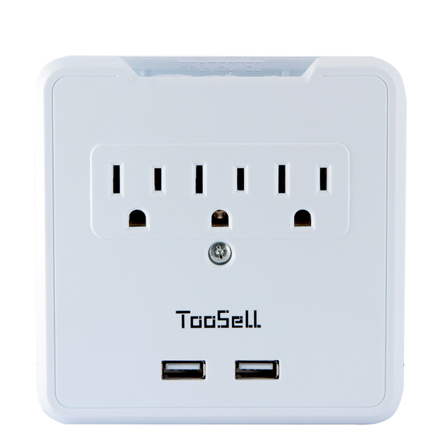 110V US Plug Standard 3 Outlet 2 USB 2.1 Amp Fast Charging Phone ...
