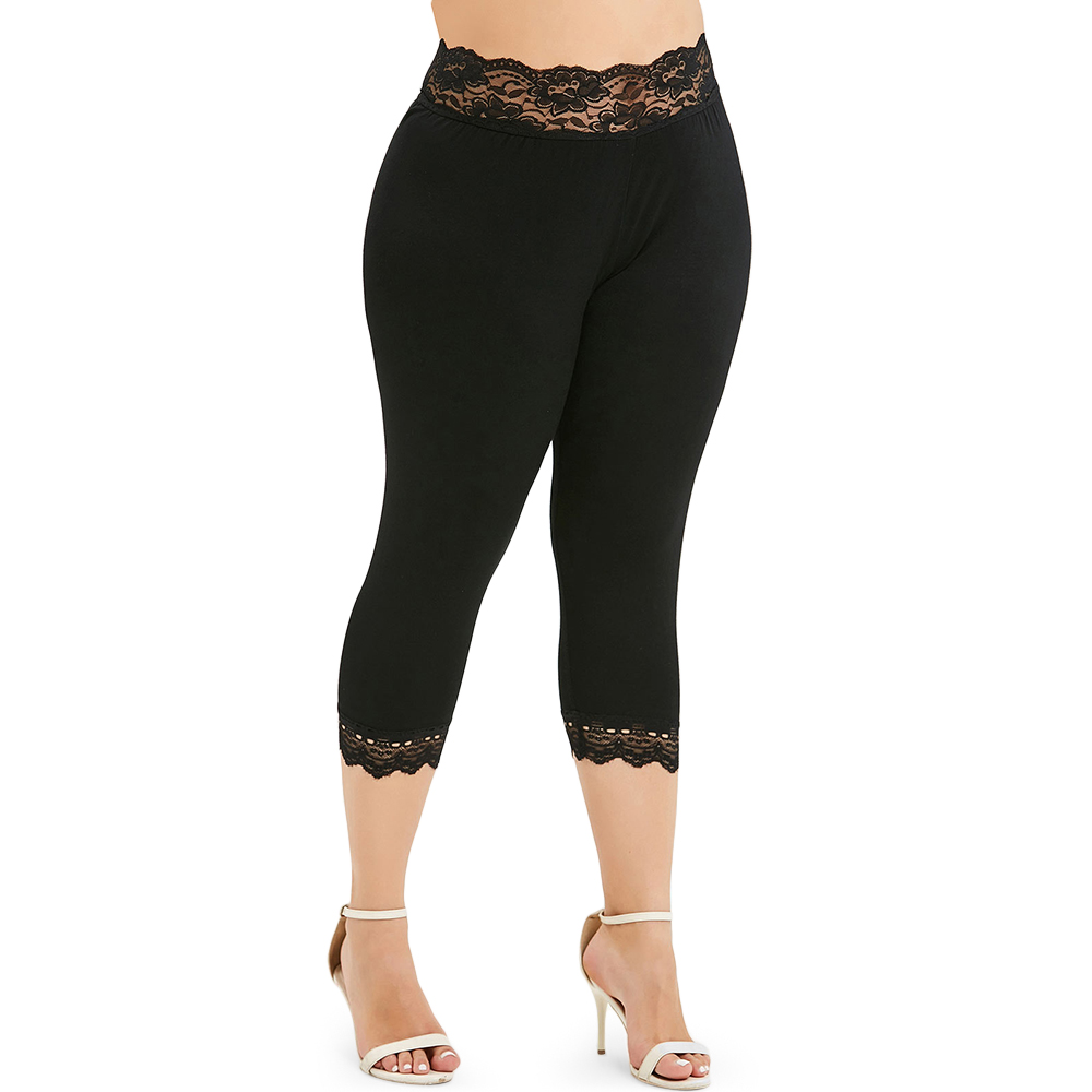 Plus Size High Waist Sexy Lace Capri Leggings Push Up Women Pant Big Size Skinny Fitness Cropped Legins Female Jeggings Trousers