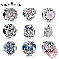 Virgooer New Authentic 925 Sterling Silver Charms Bead Fit Original Pandora Charms Bracelet Owl Mickey Dia De La Madre Regalos