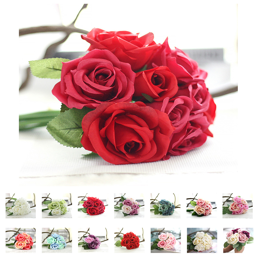 Vibrantly colored Artificial Rose Silk Flowers Real Touch for ...