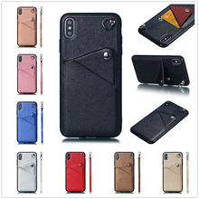 цены на Card Back Cover for iPhone XS Max Stand Leather Shell XR X Cas Lanyard Phone Coque iPhone 6 6S Plus Wallet iPhone 8 7 Matte Case  в интернет-магазинах