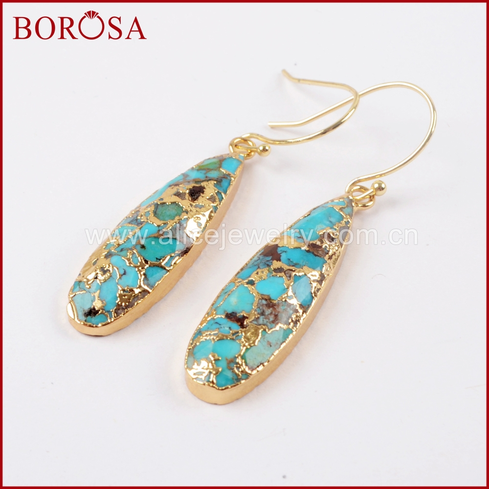 BOROSA 1 Pair Teardrop Gold/Silver Color Natural Copper Turquoises Drop Earrings Natural Gems Earrings Jewelry As Gifts G1547-E