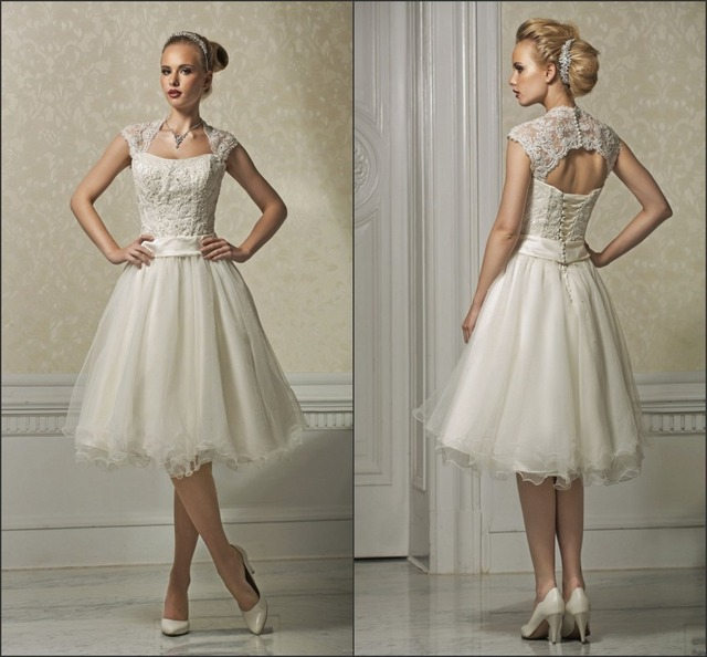Casual Beach Style Short Knee Length Wedding Dress With Detachable Jacket
