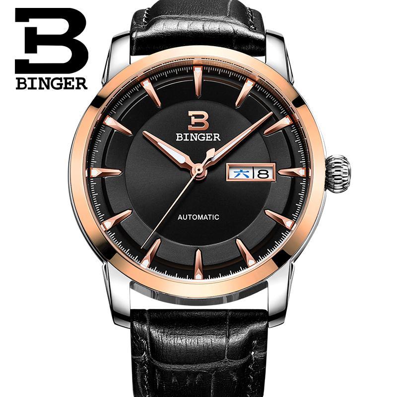 Switzerland watches men luxury brand BINGER business Mechanical Wristwatches full stainless steel Auto Date B-5067M-8