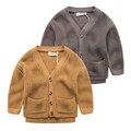 Camisola do bebê cardigan casaco cor de lazer das crianças de lazer 2017 Nova primavera Meninos Camisola de Malha