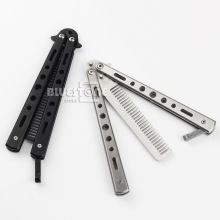 New Stainless Steel Training Butterfly Practice Style Knife Comb Tool Sport Sliver& Black Free Shipping