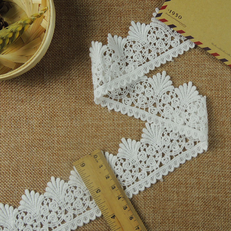 5Yards / Lot White Lace Trim Water Soluble Embroidery Cotton Lace DIY Lace Fabric Clothing Accessor RS967