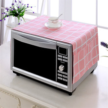 Plaid Cotton Microwave Oven Covers Dust Cover Toaster Hood Towel with 2 Pouch