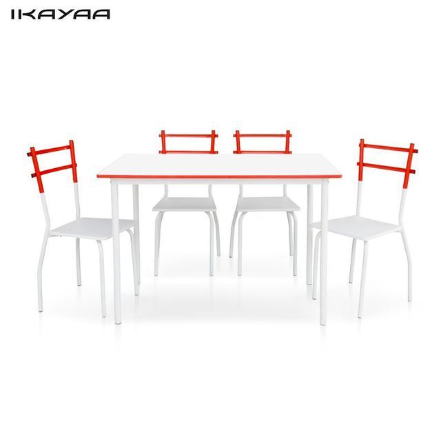 Frame1 iKayaa 5 UNIDS Moderno Juego De Comedor de Metal Mesa de ...