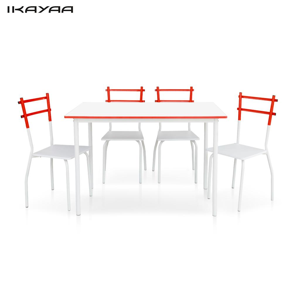 Ikayaa 5pcs Modern Dining Set Metal Frame1 Dining Table With 4 Chairs Set Home Kitchen Furniture