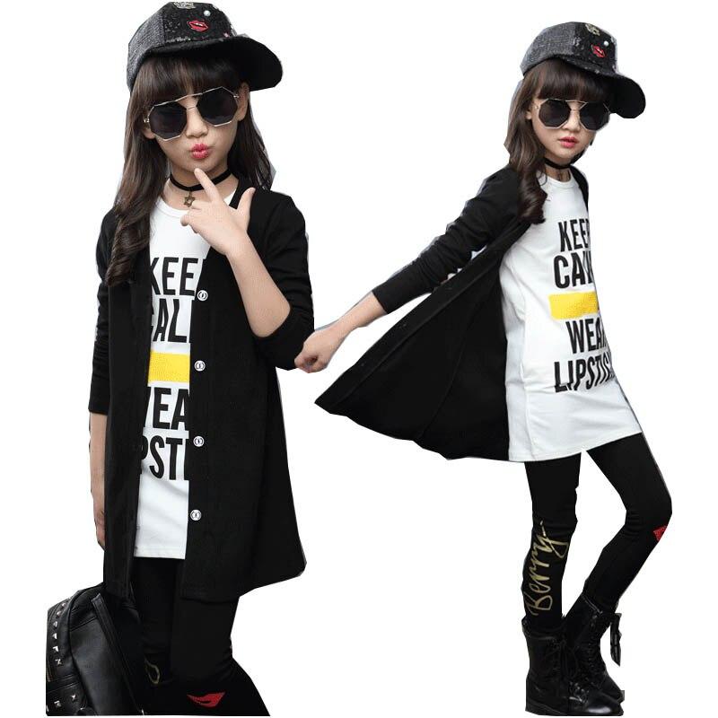 Children girls clothing sets autumn teenage girls sport suit school kids clothes tracksuit long coat Leggings 3pcs girls clothes